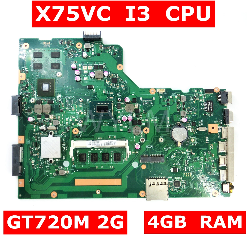 X75VC MAIN_BD._4G/I3 CPU/AS GT720M 2GB mainboard HM70 SJTNV For ASUS X75V X75VB X75VD X75VCP Laptop motherboard 100% Tested