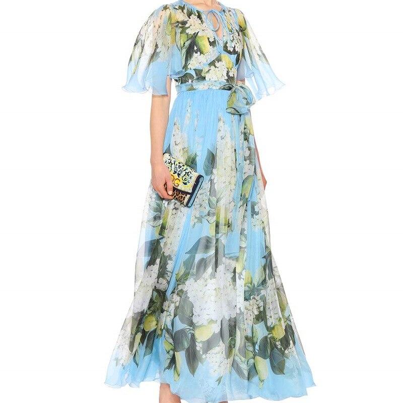 Высокое качество 2018 Лето рюшами v образным вырезом цветочный принт A Line женское длинное платье