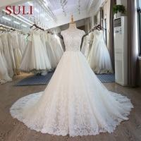 SL 101 Corset Lace Wedding Gowns Vintage Princess Beach Wedding Dresses 2017