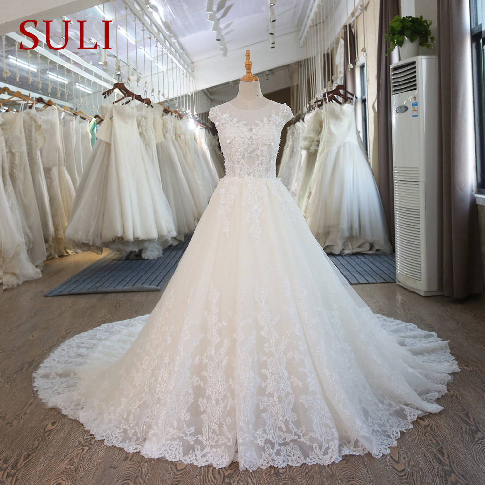 SL-101 Corset Lace Wedding Gowns Vintage Princess Beach Wedding Dresses(China)