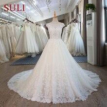 SL-101 vestidos de boda de encaje Vintage princesa playa vestidos de novia corsé