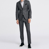 Shenrun Men Custom Made Gray Suits Business Slim Fit 100% Wool Tailored Suit For Man Tailor Made Jacket Pants Custom Supplier