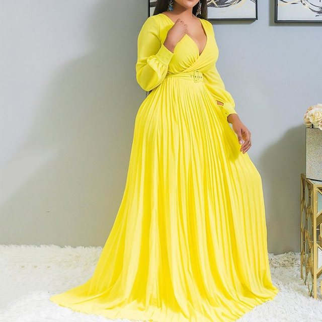Sexy Yellow Plus Size Women Loose Long Dresses Pleated Plain Dinner Evening Party Vintage Female 2019 Autumn Maxi Dress 4XL 5XL 1