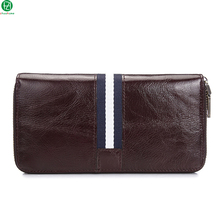 genuine leather men wallets long really cowhide men clutches Metal zipper England Style money clip wallet brown purse for man
