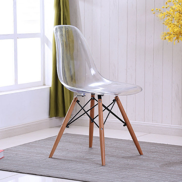 Magnificent Us 246 0 Modern Design Loft Transparent Clear Acrylic Dining Side Chair With Wood Legs Plastic Classic Chair Fashion Dining Chair 2Pcs In Dining Spiritservingveterans Wood Chair Design Ideas Spiritservingveteransorg