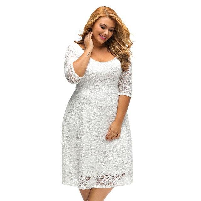 Größe Weiß Schwarz Frauen Spitze Elegant Plus Kleid Xxxl Kleider L4A5Rj