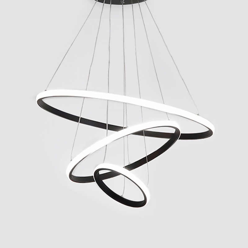 Modern LED Pendant Lights For Dining Room Black Rings Circle Living Bedroom Hanging Lamp Fixtures With Remote Control Luminaire