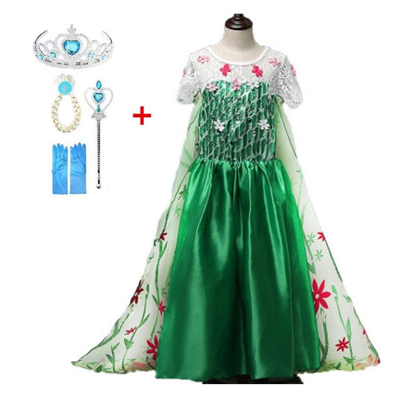 New Elsa dress long sleeve girls costume snow queen cosplay dress princess Anna