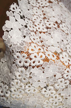 lace fabric with retro flowers by