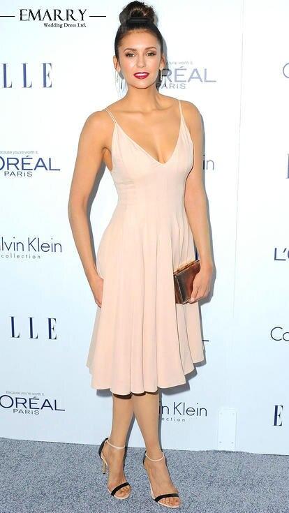 100% Wahr N615 Nina Dobrev Elegante Nude Stain Tee-länge A-linie Celebrity Kleider Sexy Tiefem V-ausschnitt Ärmellose Kurze Abendkleid Einfach Zu Schmieren