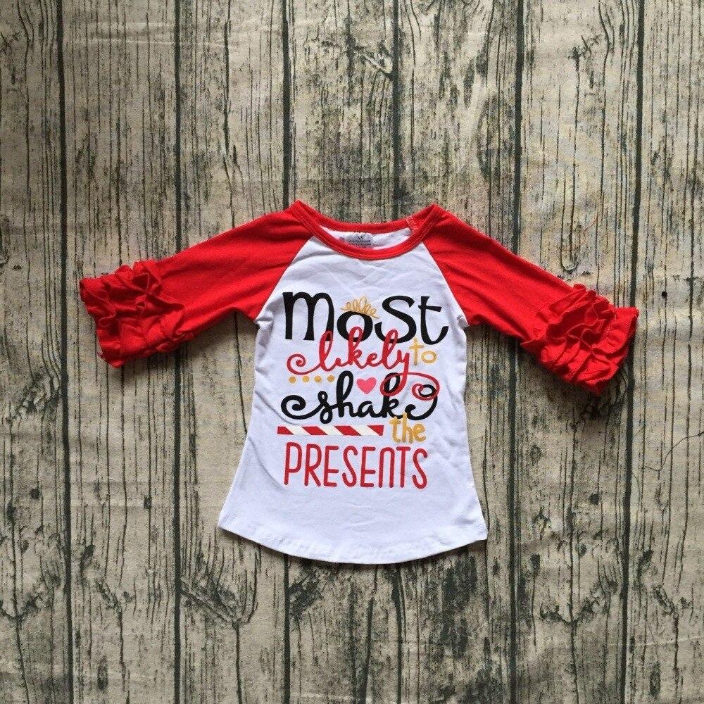 Nuevo Navidad otoño/invierno niñas niños ropa boutique algodón top camisetas raglans glaseado rojo más probable shake presenta