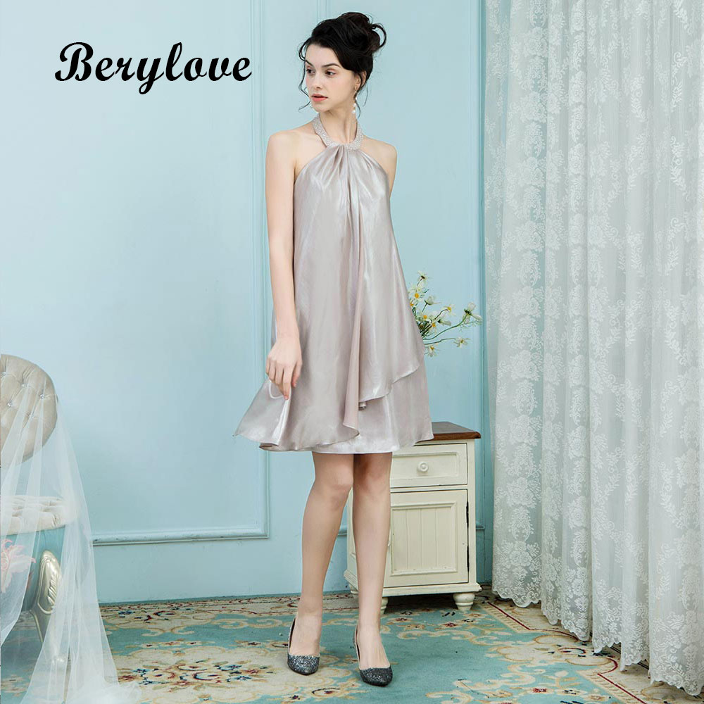 BeryLove Short Champagne Homecoming Dresses 2018 Simple Haler ...