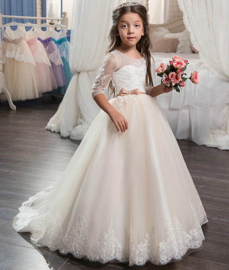 Flower     Girl     Dresses   Lace Up Back Bow Sashes Tulle Appliques Holy Communion   Dresses   Vestido Daminha Custom Made Size