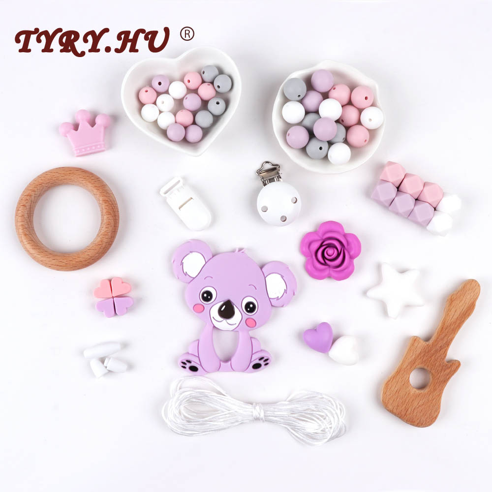 TYRY.HU Silicone Teether DIY Accessories Set Baby Teething Jewelry Hand Made Pacifier Clip Baby BPA Free Teether Silicone Beads стоимость