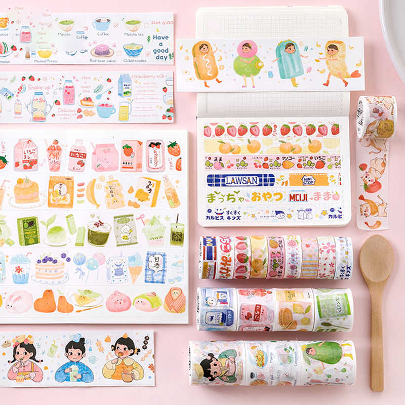 24 Style Kawaii Japanese Snacks Decorative Adhesive Tape Washi Tape DIY Scrapbooking Masking Tape School Cute Stationery Gift