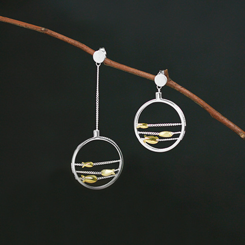 Lotus Fun Real 925 Sterling Silver Creative Handmade Fine Jewelry Cute Moving Happy Fishes Jewelry Set