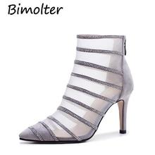 Bimolte Fashion Women Grenadine Sheep Suede Pumps Girls Summer Super High Thin Heels Sexy Crystal Party Wedding Shoes LXEB012 недорго, оригинальная цена