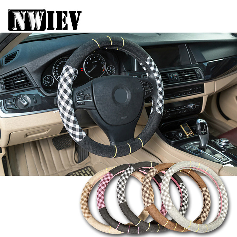 38cm Flax Car Styling Steering Wheel Cover For Bmw E46 E39 Mitsubishi lancer asx Audi A3 A6 C5 A4 Mercedes W203 W211 Mini Cooper