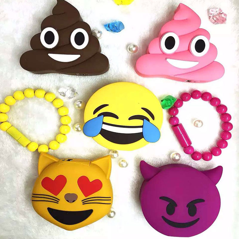 GOESTIME Newest Design 2000mah Funny Cute Emoji Face Shaped Power Bank PVC Material Charge Mobile Cartoon
