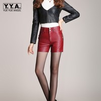 2016 Newnew Winter Pu Leather Shorts Women Boots High Waist Fashion Shorts Female Black Leather Shorts