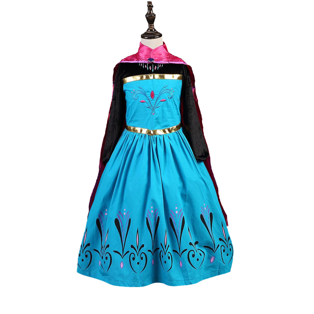 fashion high quality 2 pieces set new elsa anna girls dress cosplay party kid dresse elsa costume 2018 new fashion custom anna elsa girls