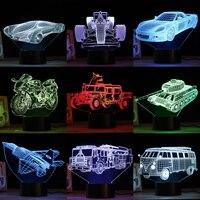 LED 3D Touch Night Light Transportation Acrylic Lamp 7 Color Change Light Desk Lamp Home Lighting