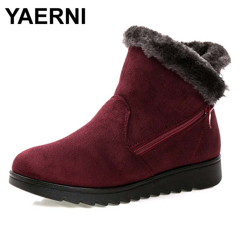 YAERNI Women Ankle Boots New Fashion Waterproof Wedge Platform Winter Warm Snow Boots Shoes For Female winter women snow boots fashion footwear 2017 solid color female ankle boots for women shoes warm comfortable boots