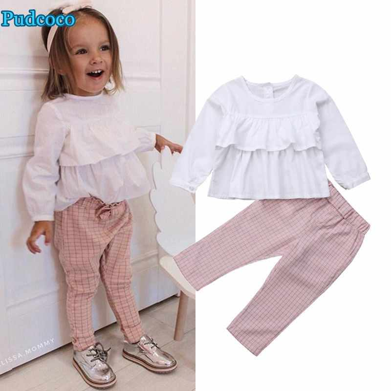 Pudcoco 2019 Brand New Toddler Kids Baby Girl Ruffle Tops Blouse Plaid Pants Leggings Outfits Clothes