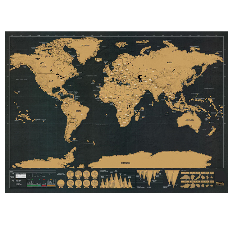 Large Scratch Off World Map.Deluxe Scratch Map New Luxury Home Decor Personalized Black Golden