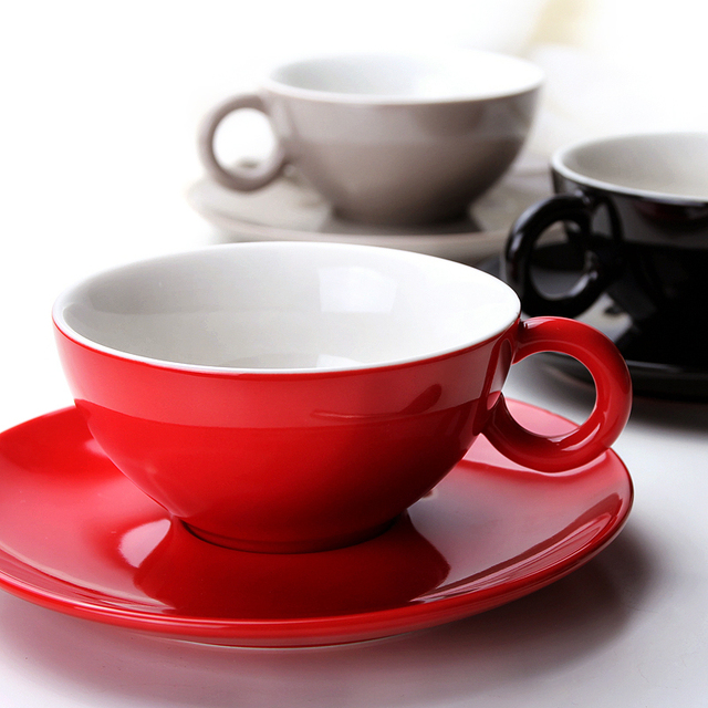 German Brief Color Glaze Coffee Cup Dish Nordic High Capacity Large Red Ceramic Dark Black Cups