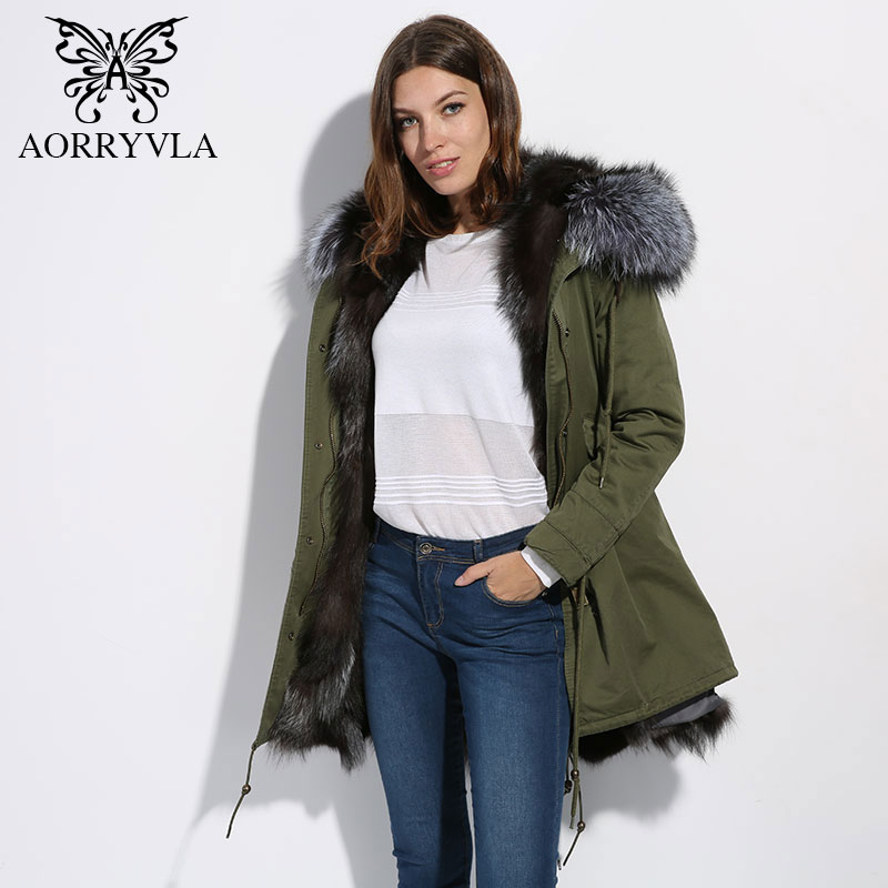 AORRYVLA 2018 Winter Women Parka Real Fur Large Raccoon Fur Collar Hooded Long Coat Luxury Fox Fur Liner Warm Jacket Top Quality