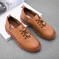 New 2017 Spring Genuine Leather Handmade Shoes Women Soft Cow Leather Flat Shoes Fashion Comfortable Casual Shoes Women Flats