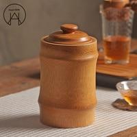 Handgemaakte verzegelde blikjes creatieve bamboe Thee tank met deksel grote voedsel opslag container ronde opslag emmer opslag fles geschenkdoos