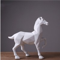 Home Decoration White Horse Statue Resin Ornaments Home Decoration Accessories Gifts Geometric Resin White Horse Sculpture