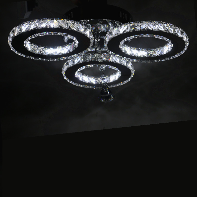 New LED Three rings Ring Chandeliers Chrome color Stainless Steel Room Hanging Lamp LED Chandelier Lustres Living room lamps - 3
