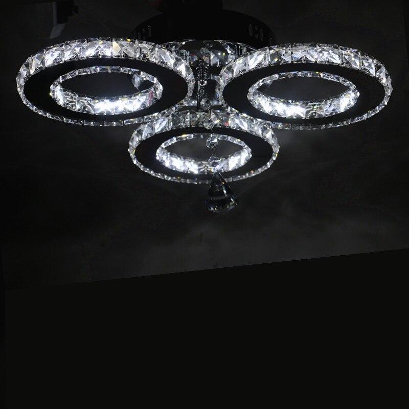 Nuevo LED tres anillos candelabros de anillo de color cromado de acero inoxidable lámpara colgante LED candelabro Lustres lámparas de sala de estar - 3