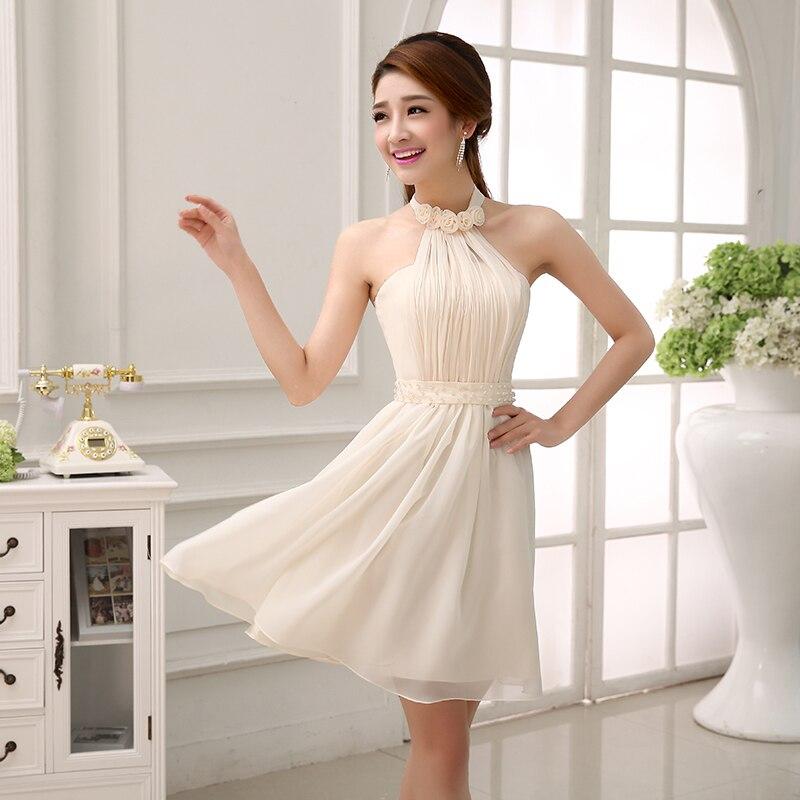 2016 nouveauté stock maternité grande taille robe de mariée fête de mariage coréen blanc robe licou d'été robes de demoiselle d'honneur DT0416
