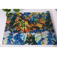 HOHOFILM 92cm*500cm 3D Static Window Film Stained Glass Sticker Privacy Bathroom Home Decor 36''x196.8''