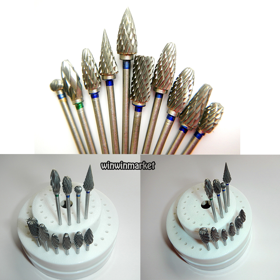 10pcs Dental Lab Titanium Nitrate Carbide Burs Polishers + 1 HP Round Burs Block10pcs Dental Lab Titanium Nitrate Carbide Burs Polishers + 1 HP Round Burs Block