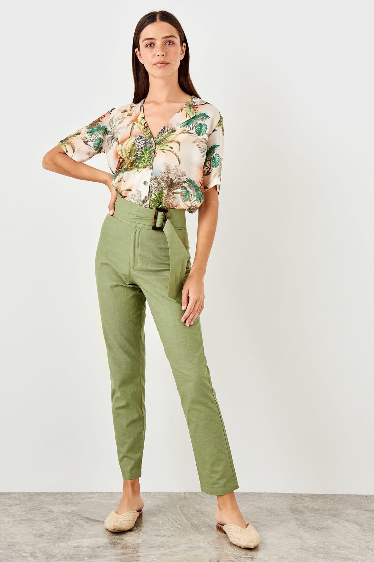 Trendyol Khaki Belt Detaylı Pants TWOSS19IE0113