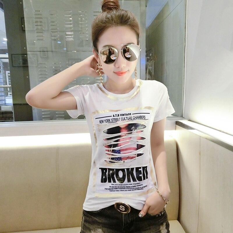 2018 Korean style fashion hot gold short-sleeved female T