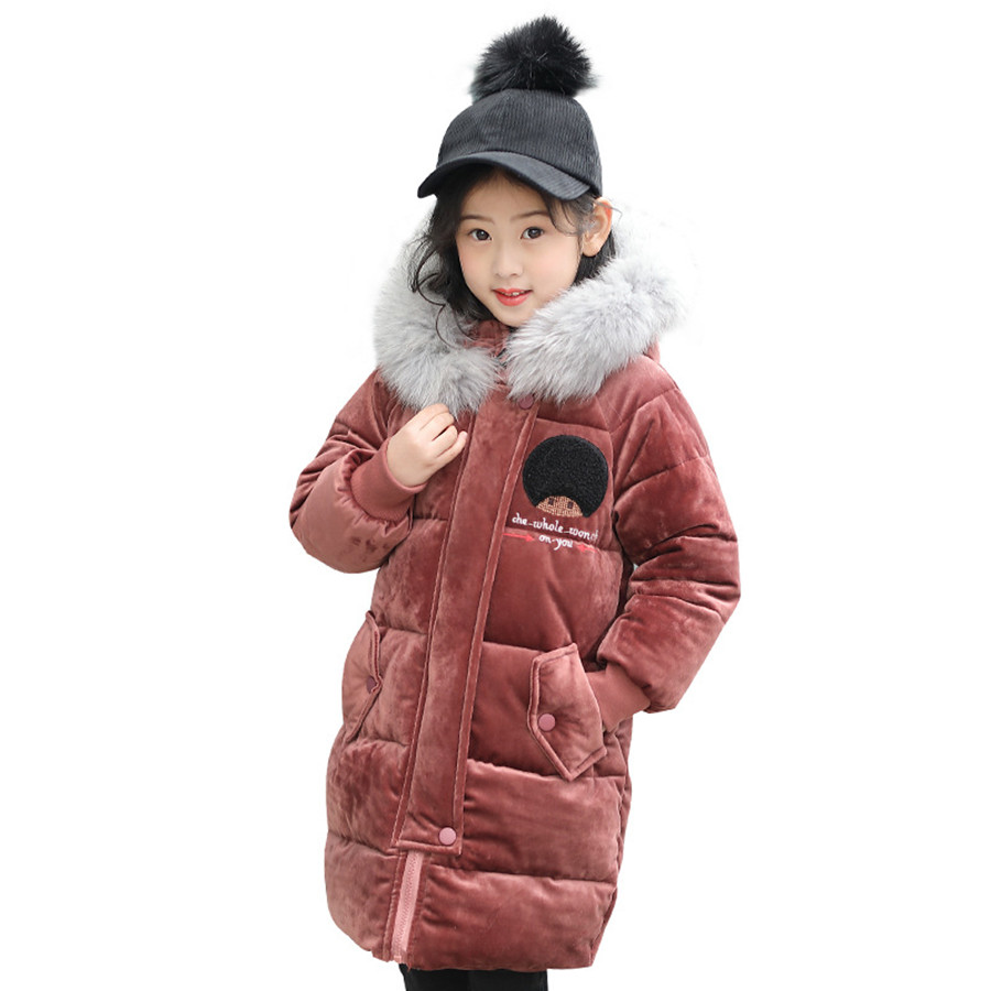 Fashion Girls Coat Winter Cartoon Letter Quilted Jacket Children Pretty Brown Kids Parka Faux Fur Collar Long Jacket For Girls hot style three points children quilted loose coat