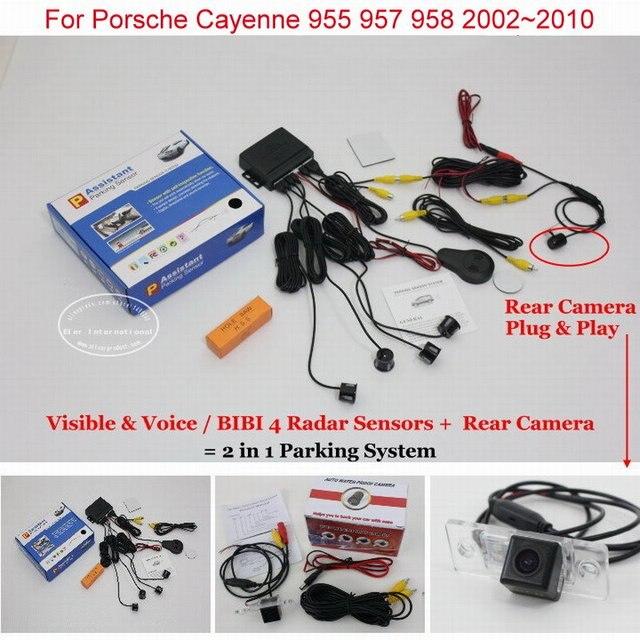 BIBI Сигнализации Парковочная Система Для Porsche Cayenne 955 957 958 2002 ~ 2010-Камера заднего Вида Автомобилей Датчики Парковки = 2 в 1 Видео