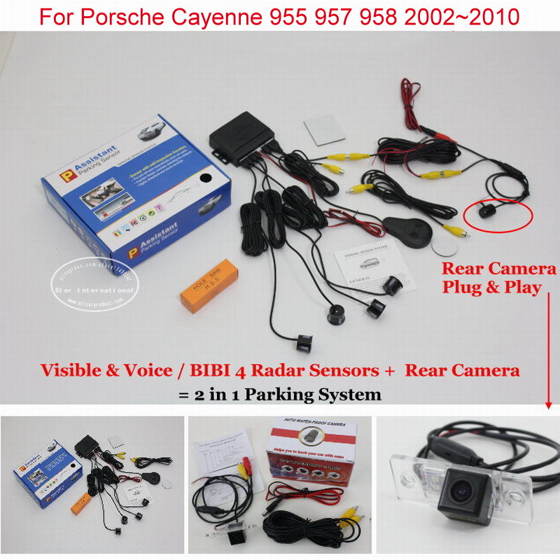 Liislee Parking System For Porsche Cayenne 955 957 958 2002~2010 - Rear View Camera + Car Parking Sensors = 2 in 1 Visual
