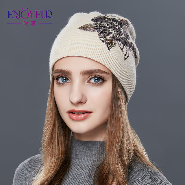 c47a1201 ... ENJOYFUR Sequins Embroidery Knitted Hat Female Floral Wool Winter Hats  Women's Cashmere Gravity Falls Cap Girl ...