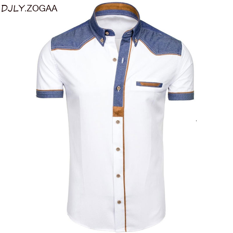Men's Shirts Fashion Denim Short Sleeve Formal Shirts Man Casual Summer Clothing Tops Brand Slim Cotton Plus Size Male Shirts