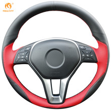 MEWANT Black Leather Red Leather Steering Wheel Cover for Mercedes Benz A-Class 2013-2015 B-Class 2011-2014 CLA-Class 2013 2014