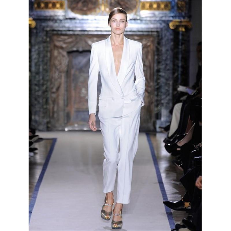 CUSTOM white trouser suit double breasted women business suits formal office suit work 2 piece blazer set lady trouser suit