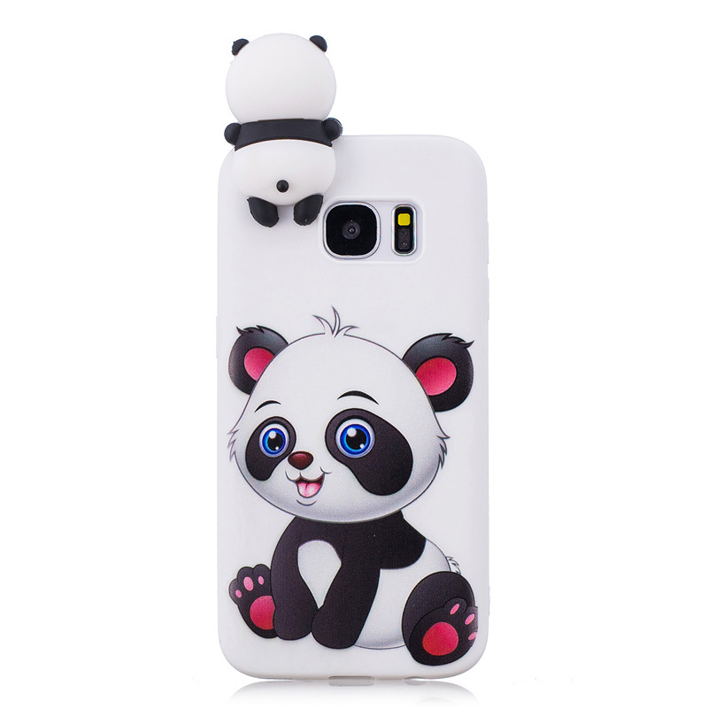 Silicone Case For etui Samsung S7 Edge Case Back Cover For Coque Samsung S6 S7 Edge S8 S9 Plus 3D Unicorn Panda Soft Phone Cases in Fitted Cases from Cellphones Telecommunications