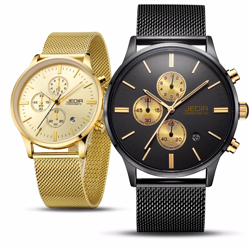 Dropship 2018 Fashion Mens Chronograph Black Stainless Steel Mesh Strap Military Sport Quartz Wrist Watches with Luminous Hands